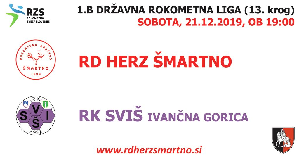 Rokometna tekma proti RK SVIŠ IVANČNA GORICA (1.B DRL - 13. krog)