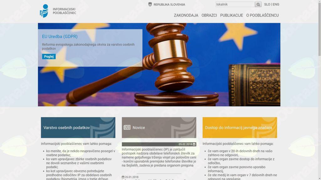 Spletna stran informacijskega pooblaščenca (https://www.ip-rs.si/)