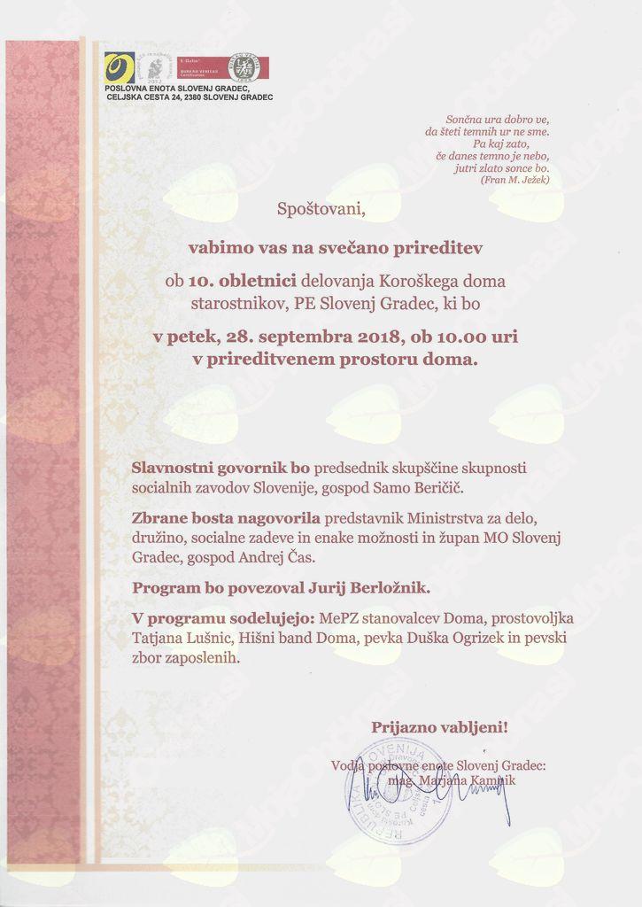 Vabilo na praznovanje 10. obletnice doma PE Slovenj Gradec