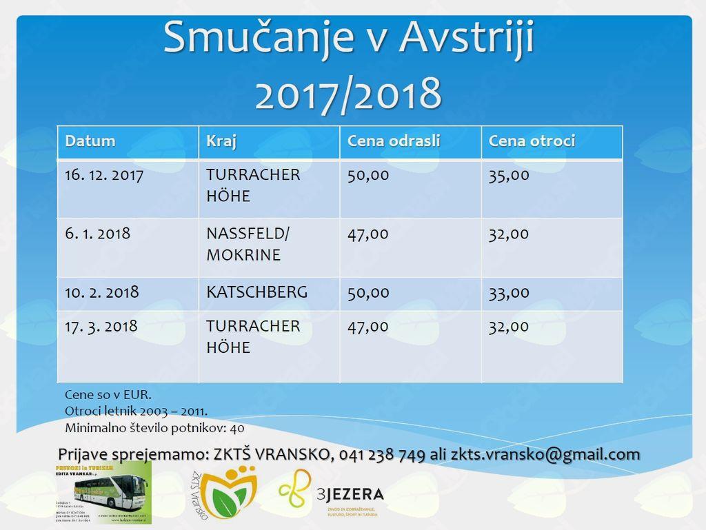 SMUČANJE V AVSTRIJI 2017/2018