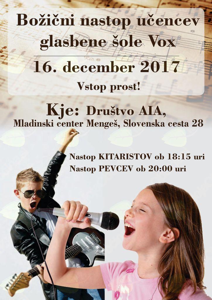 Božični nastop učencev glasbene šole Vox