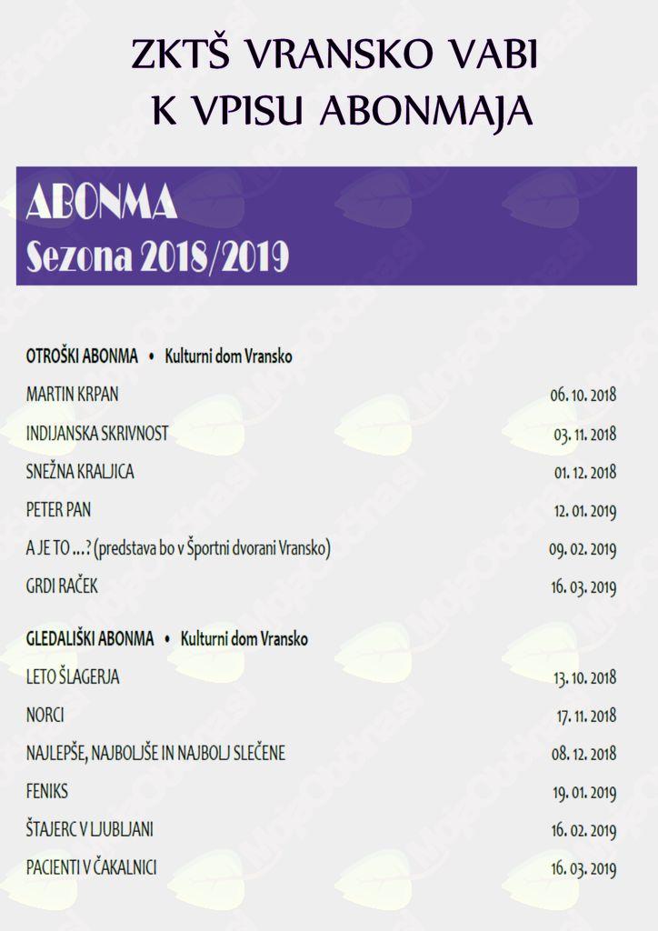 VPIS V ABONMA 2018/2019 - ZKTŠ VRANSKO