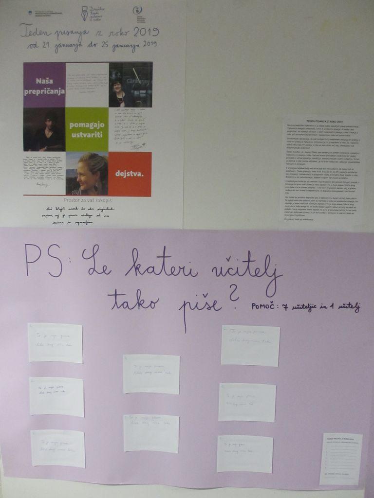 Teden pisanja z roko 2019 na Osnovni šoli Vransko-Tabor