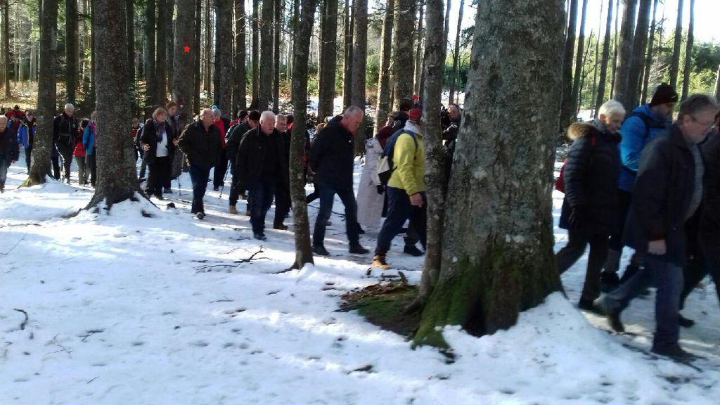 Kolona pohodnikov se pomika proti poslednjemu bojišču.