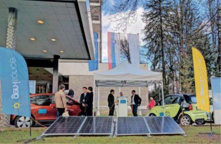 Trajnostni energetski krog: sončna elektrarna, mobilna polnilnica, toplotna črpalka in električni avto z baterijo, ki jo lahko tudi praznimo
