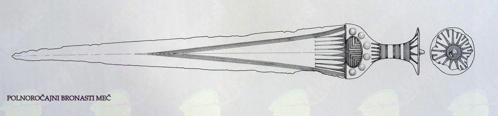 Bronasti polnoročajni meč