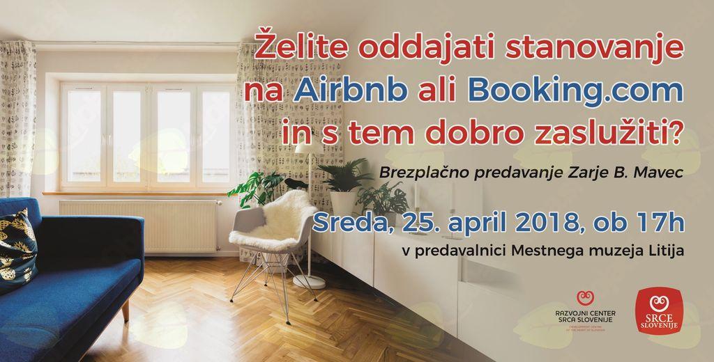 Predavanje o nastanitvenih portalih Airbnb in Booking.com