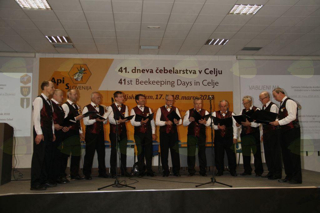 Člani moškega komornega zbora ČZS zapeli na  odprtju že  41. APISLOVENIJA