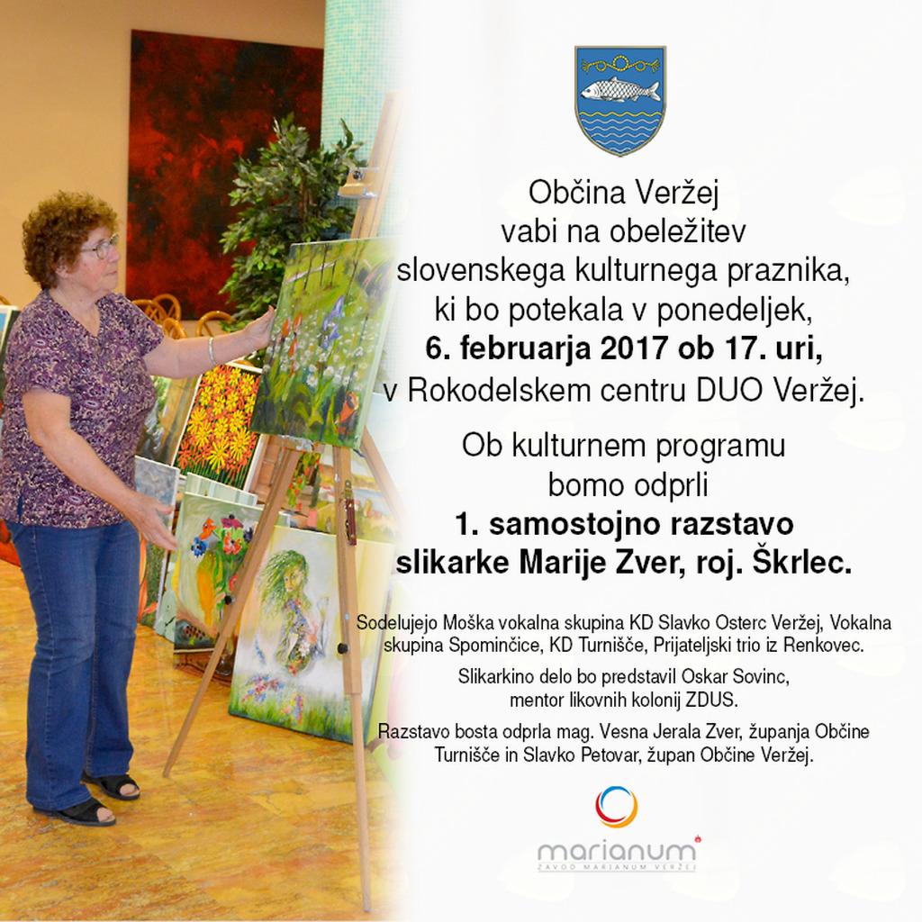 Prireditev ob slovenskem kulturnem prazniku - odprtje 1. samostojne razstave slikarke Marije Zver