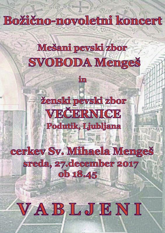 Božično-novoletni koncert mešanega pevskega zbora SVOBODA Mengeš
