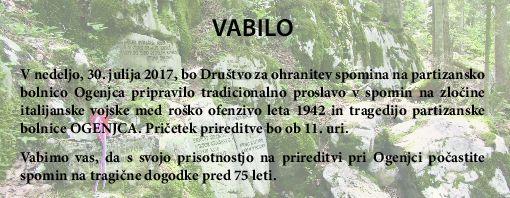 Spominska slovesnost pri partizanski bolnici Ogenjca