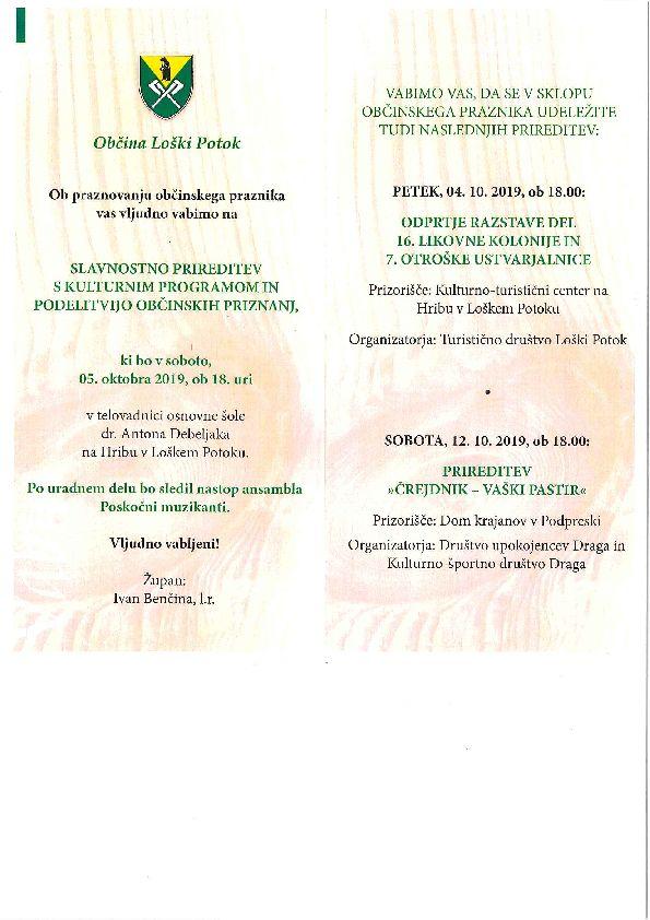 Slavnostna prireditev s kulturnim programom ob praznovanju občinskega praznika