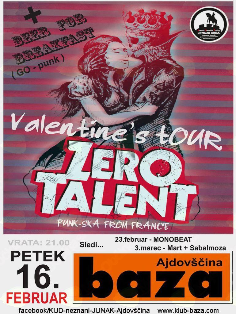 Koncert: Zero talent (FRA) in Beer for breakfast (SLO)