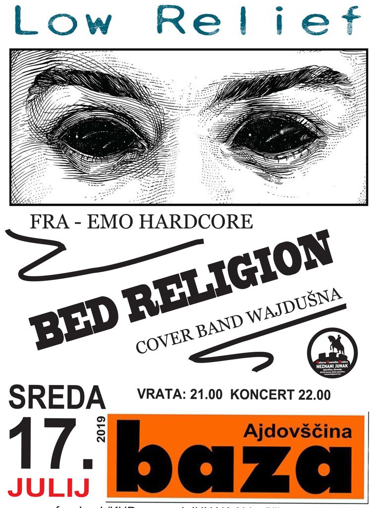 Koncert: Low Relief (FRA) + Bed Religon (SLO)