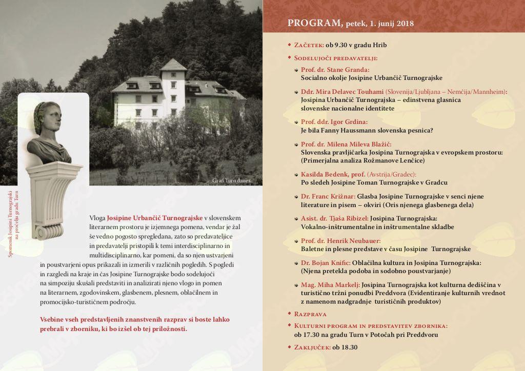 Zaključna prireditev ob mednarodnem simpoziju o Josipini Turnograjski