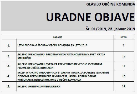 URADNE OBJAVE GLASILA OBČINE KOMENDA 01/2019