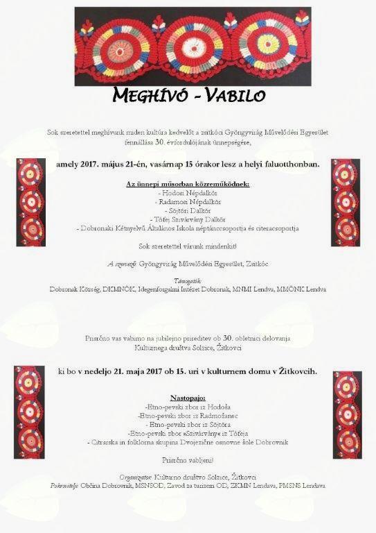 """30.obletnica KD """"Solzice"""" Žitkovci/Zsitkóci """"Gyönyvirág"""" ME 30.évfordulója"""