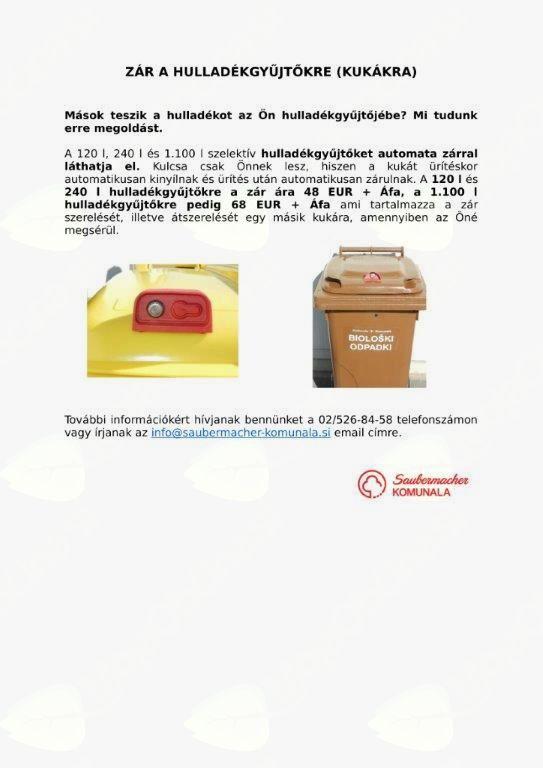 KLJUČAVNICE ZA ZABOJNIKE/ZÁR A HULLADÉKGYŰJTŐKRE (KUKÁKRA)