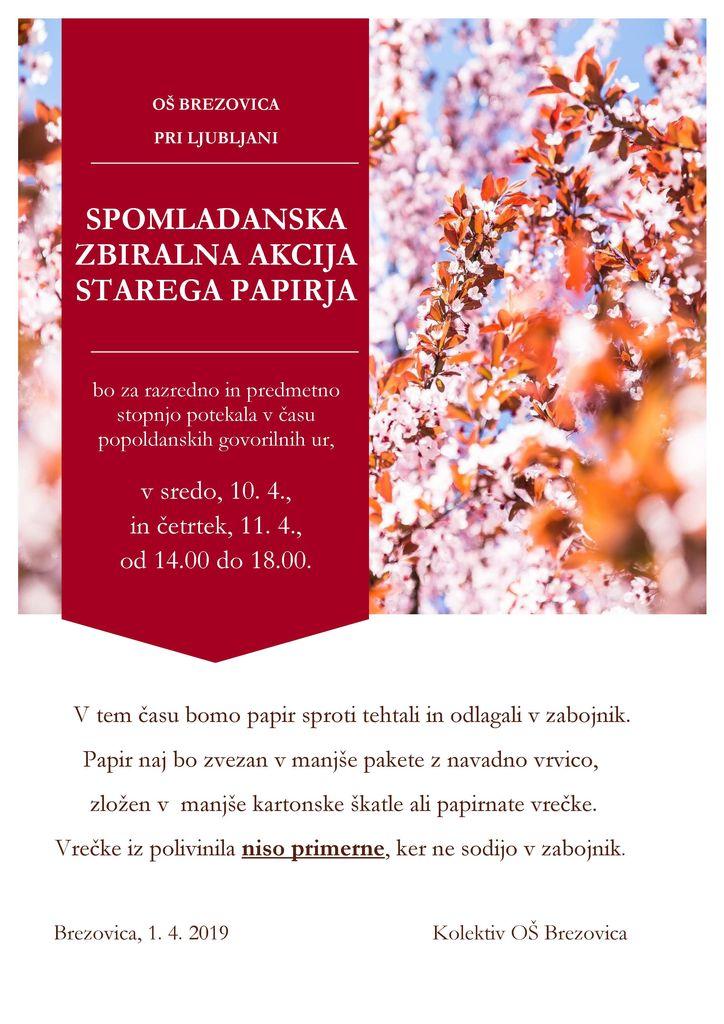 Spomladanska zbiralna akcija starega papirja - OŠ Brezovica - odpade