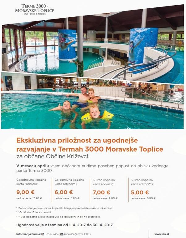 Ekskluzivna priložnost za občane Občine Križevci - Terme 3000