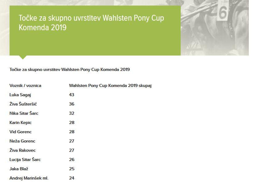 Pony Senta in voznik Luka Sagaj zmagovalca tekmovanja Wahlstén Pony Cup