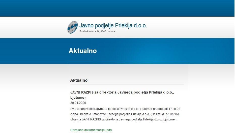 Obvestilo: JAVNI RAZPIS za direktorja Javnega podjetja Prlekija d.o.o., Ljutomer