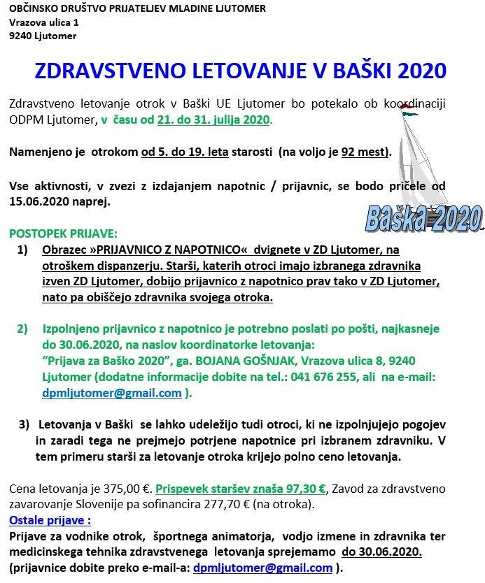 ZDRAVSTVENO LETOVANJE V BAŠKI 2020