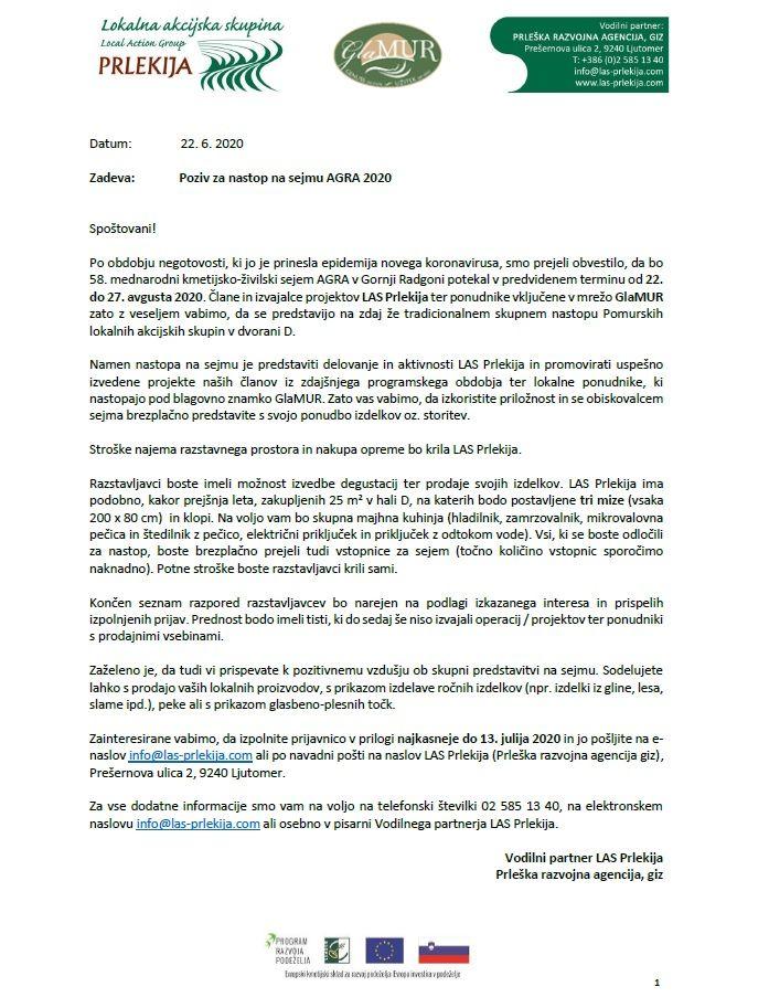 Poziv za nastop na sejmu AGRA 2020