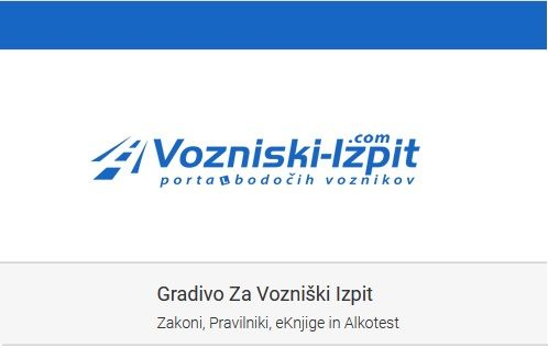 Obvestilo portala Vozniski-izpit.com