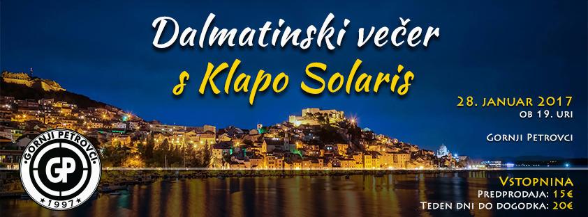 Dalmatinska večerja s klapo Solaris v Gornjih Petrovcih