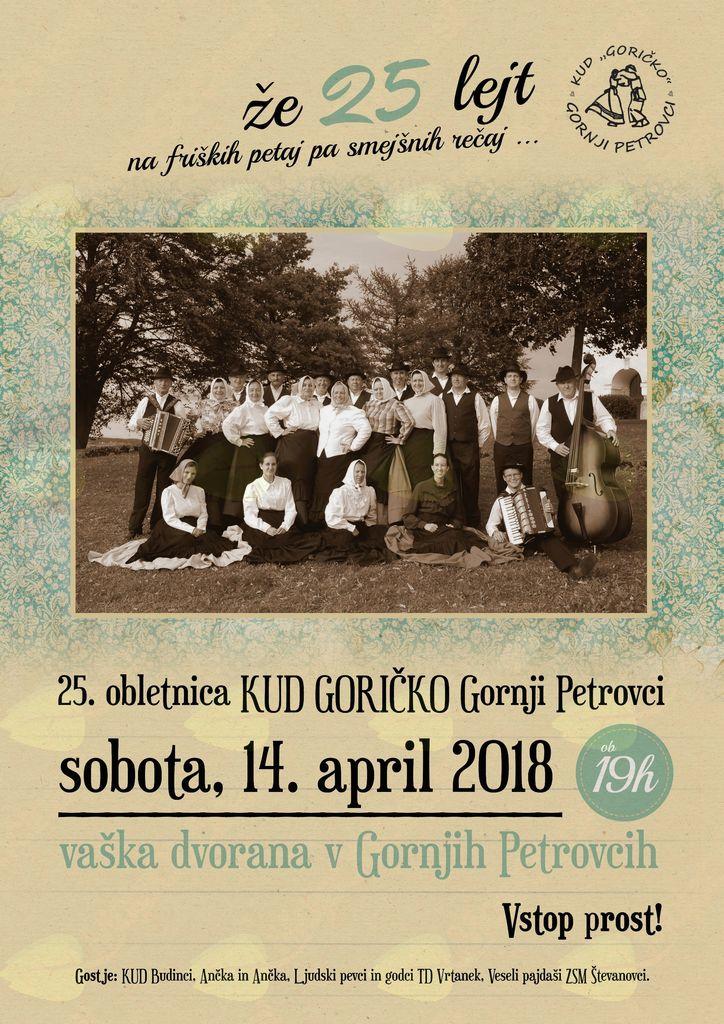 """Gledališki večer ob 25. obletnici delovanja KUD Goričko """"Že 25 lejt na friških petaj in smejšnih reč"""