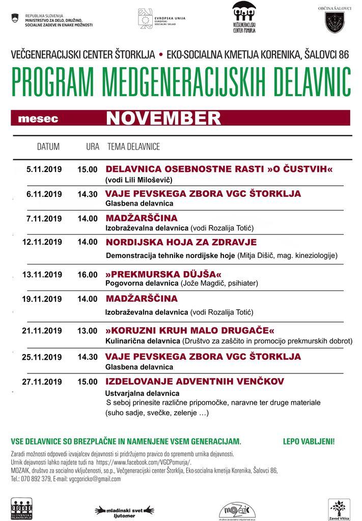 Program delavnic v Večgeneracijskem centru štorklja na eko-socialni kmetiji Korenika v Šalovcih, v mesecu novembru.