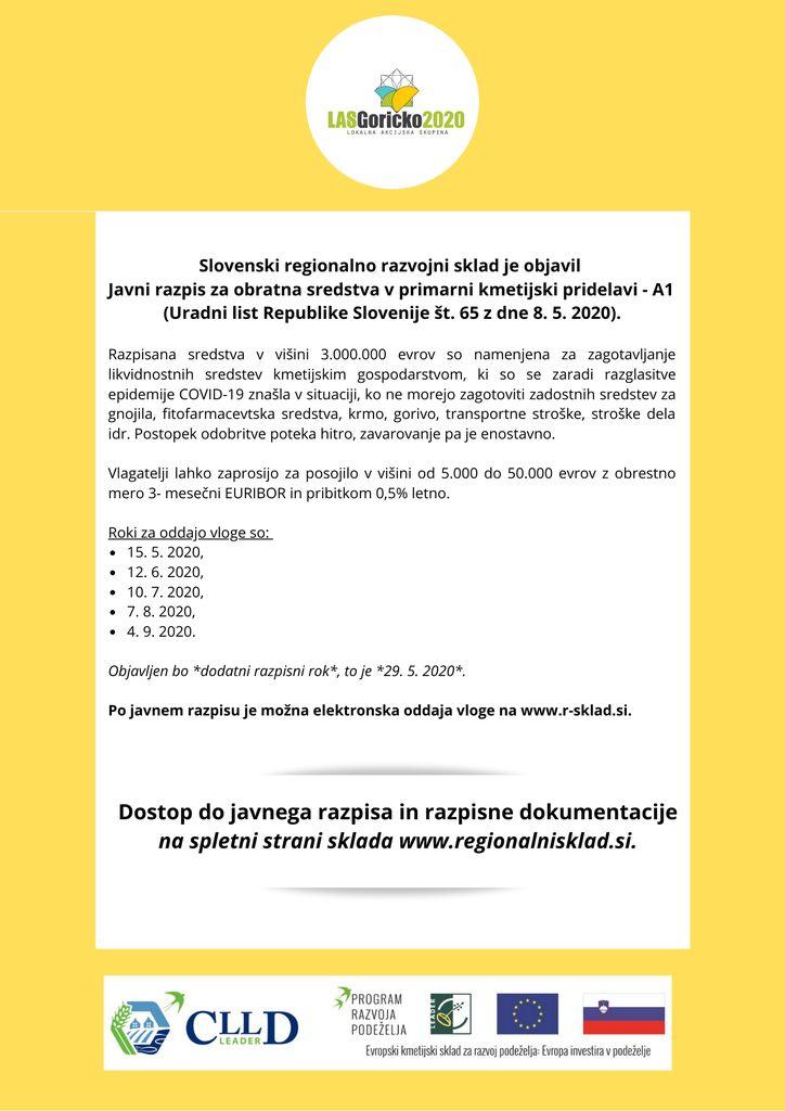Javni razpis za obratna sredstva v primarni kmetijski pridelavi - A1