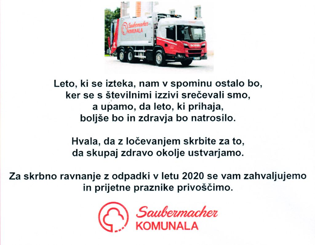Čestitka Saubermacher - Komunala Murska Sobota d.o.o.