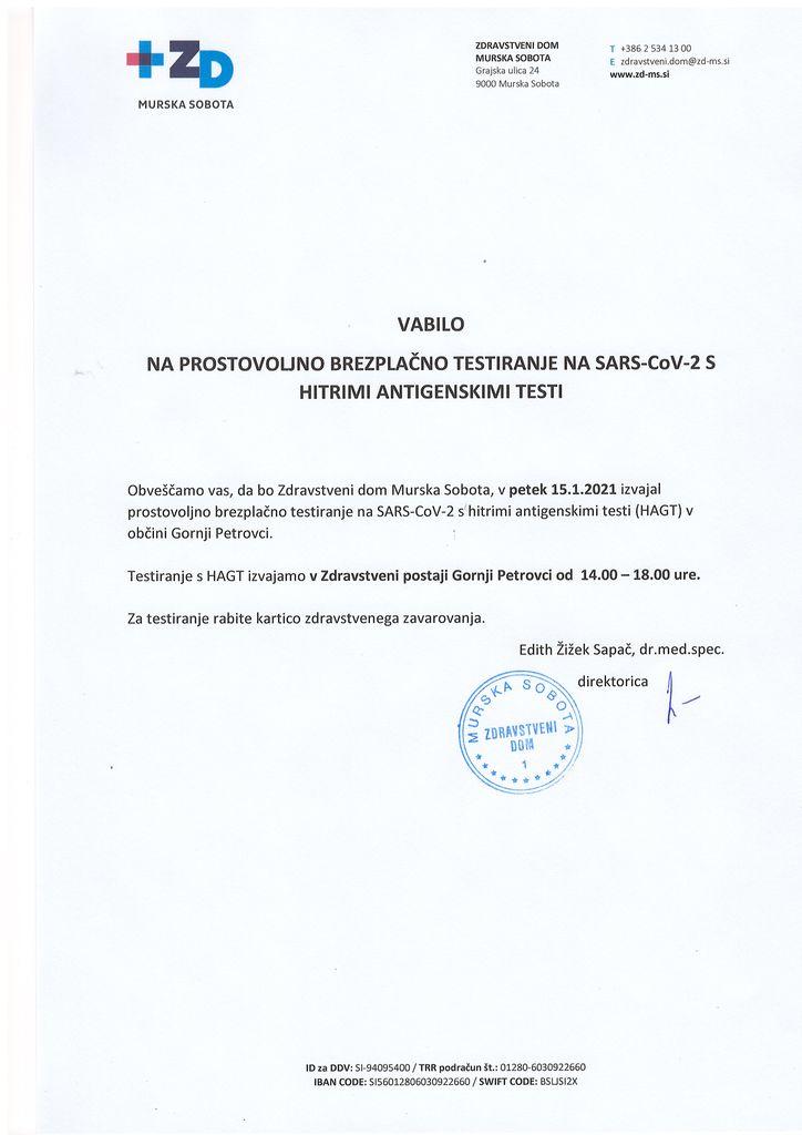 Vabilo na prostovoljno brezplačno testiranje na SARS CoV-2 s hitrimi antigenskimi testi v Občini Gornji Petrovci