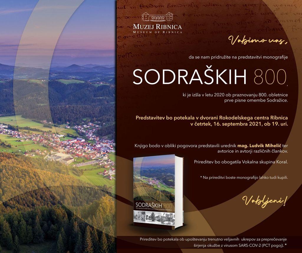 Vabilo na predstavitev monografije Sodraških 800