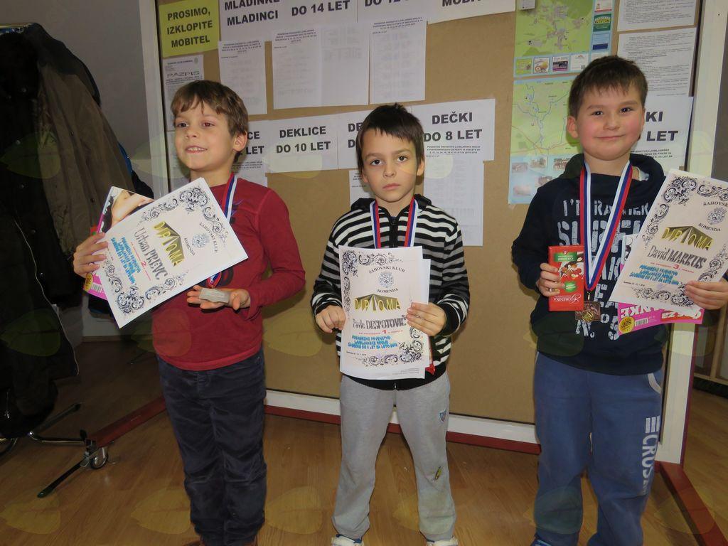 zmagovalci do 8 let Urban Prevc Pavle Despotovič David Markus