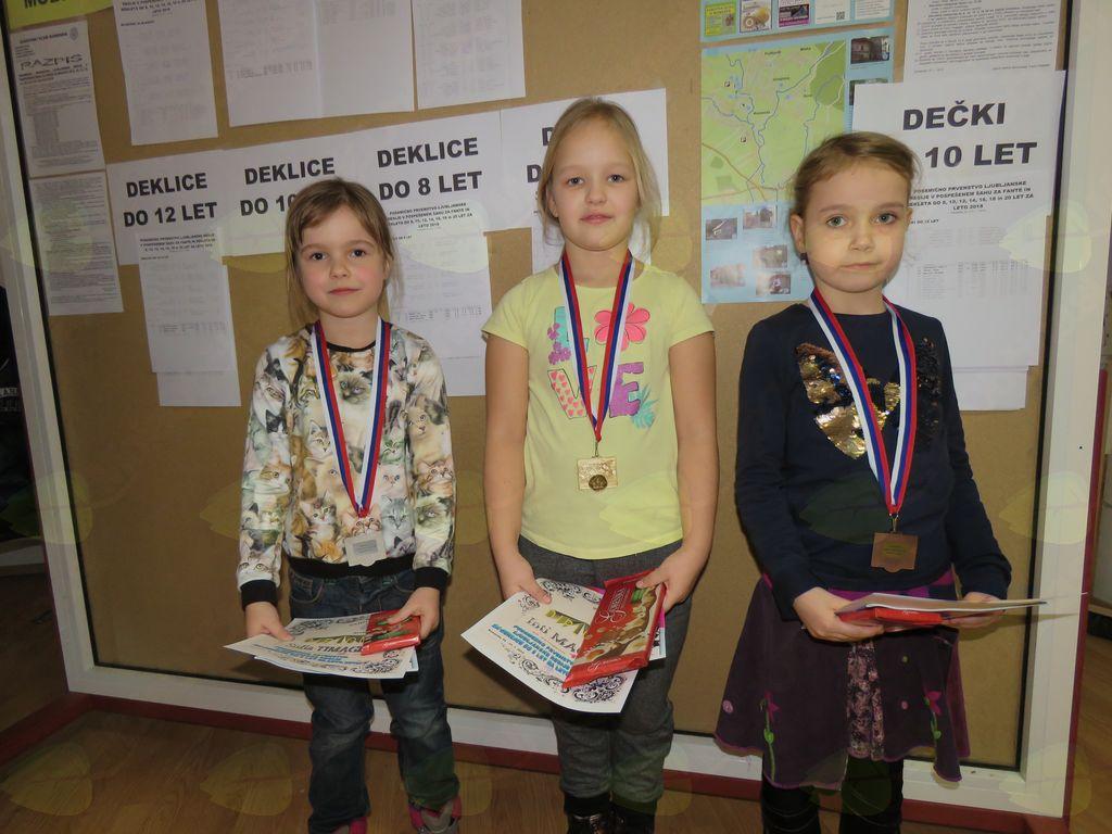 zmagovalke do 8 let Sofia Timagina Inti Maček Evelina Marn