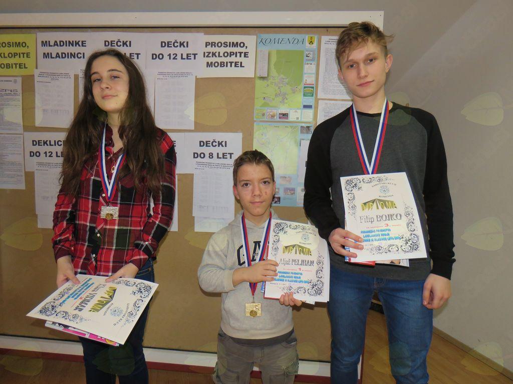 zmagovalci pri mladinkah in maldincih Klara Vidmar Aljaž peljhan Filip Bojko