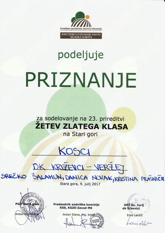 Priznanje ekipi Društva kmetic Križevci Veržej