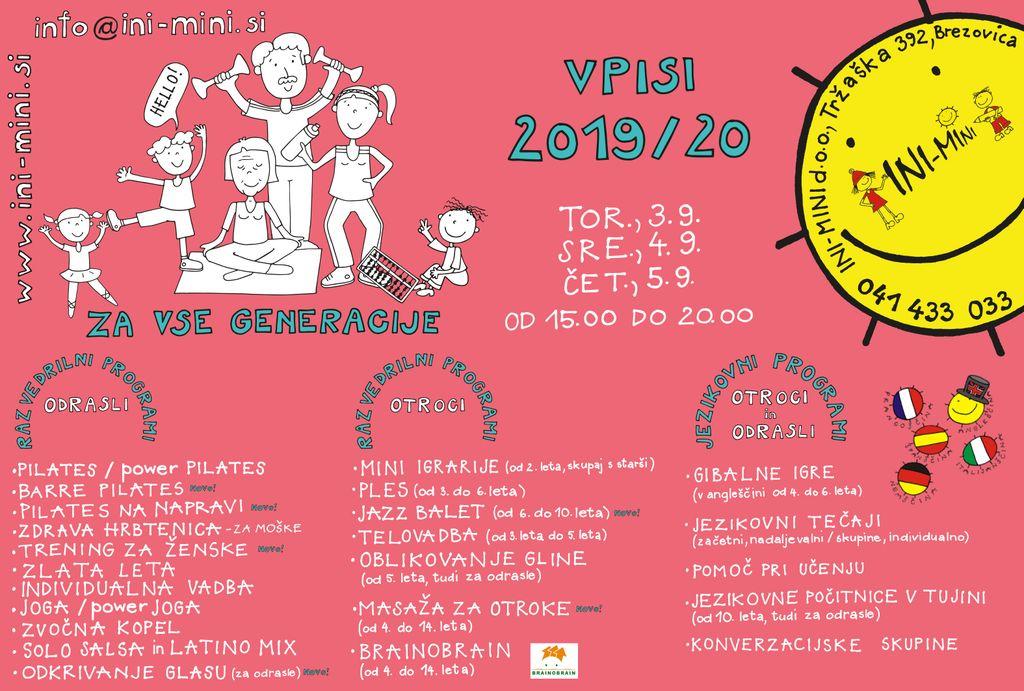 Vpisi INI-MINI 2019/20 (Jezikovni tečaji in razvedrilni programi)