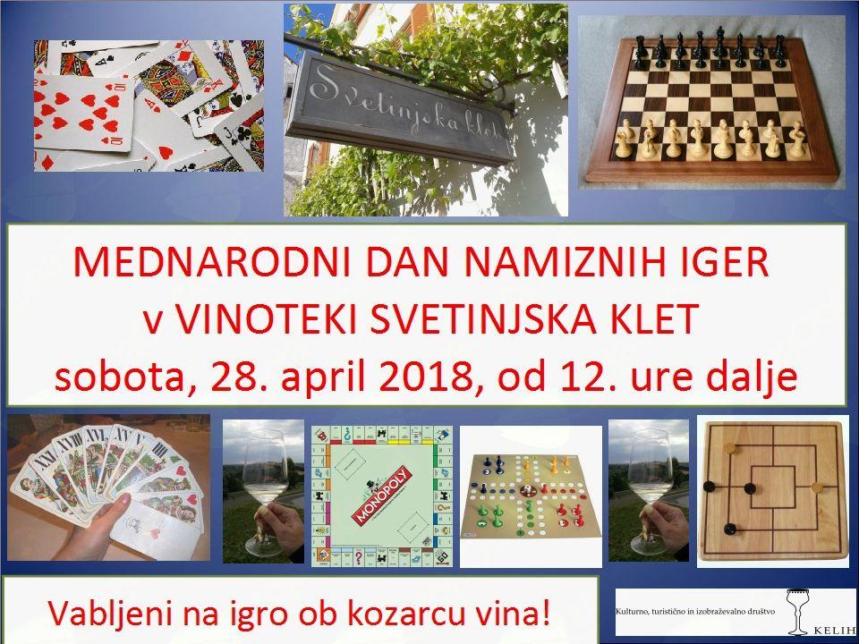 Mednarodni dan namiznih iger v Vinoteki Svetinjska klet