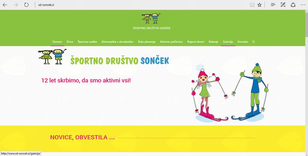 Naslovnica nove spletne strani Šortnega društva Sonček