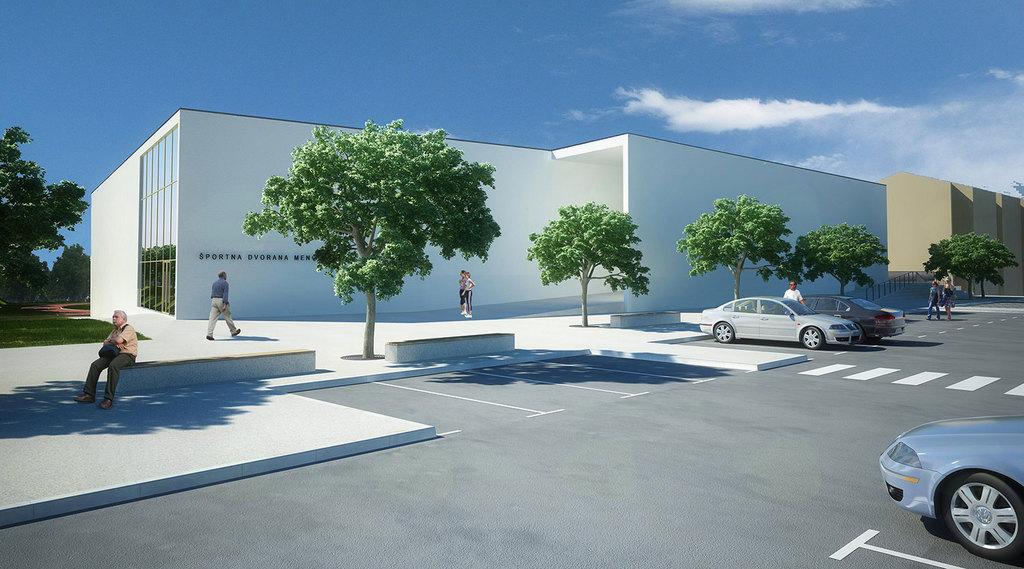 Športna dvorana s parkirišči za obiskovalce in zaposlene v OŠ Mengeš