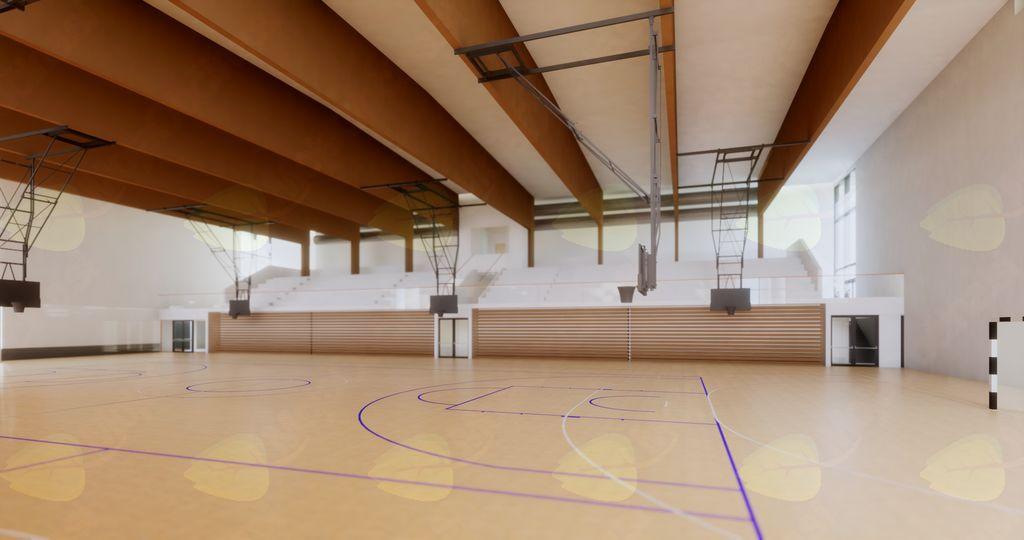 Predvidena notranjost večnamenske športne dvorane Mengeš