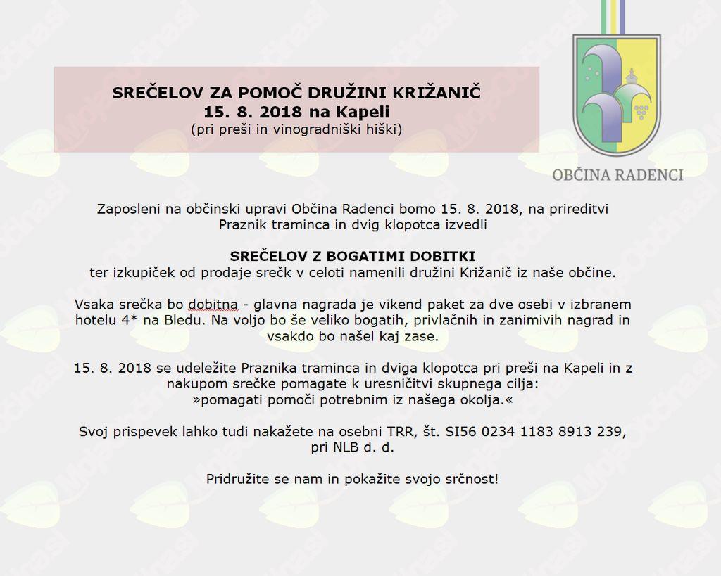 SREČELOV ZA DRUŽINO KRIŽANIČ, 15. 8. 2018