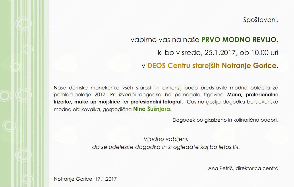 MODNA REVIJA v DEOS Centru starejših Notranje Gorice