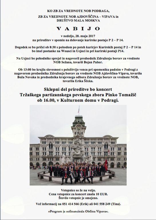 Spominska prireditevs  koncertom Tržaškega partizanskega pevskega zbora Pinko Tomažič