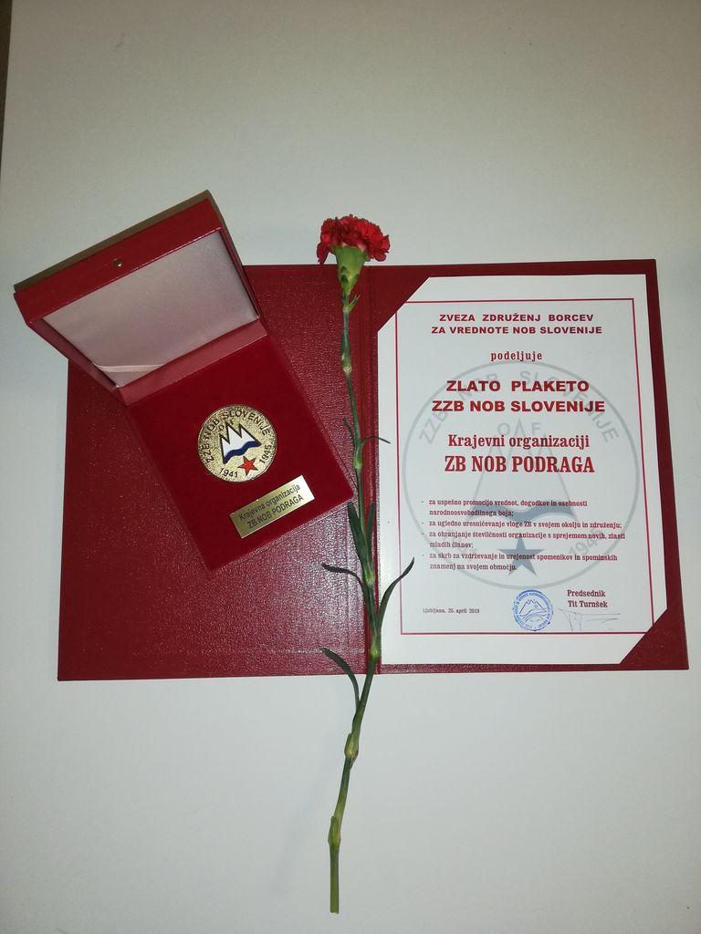 Krajevna organizacija Združenje borcev NOB Podraga prejela Zlato plaketo