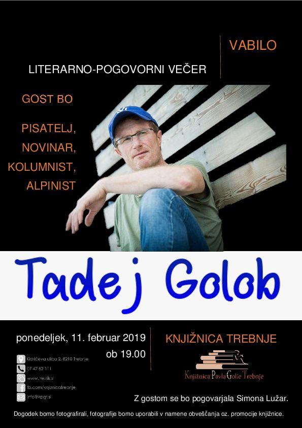 Tadej Golob - literarno pogovorni večer s pisateljem